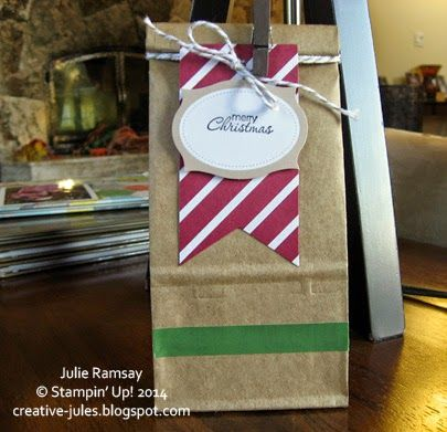Petite Café Gift Bags + Under The Tree Tag a Bag Accessory Kit = Five-Minute Friday Gift Solution   Julie Ramsay-Stampin Up! Canada Demonstrator creative-jules.blogspot.com julieramsay.stampinup.net @creativejules72