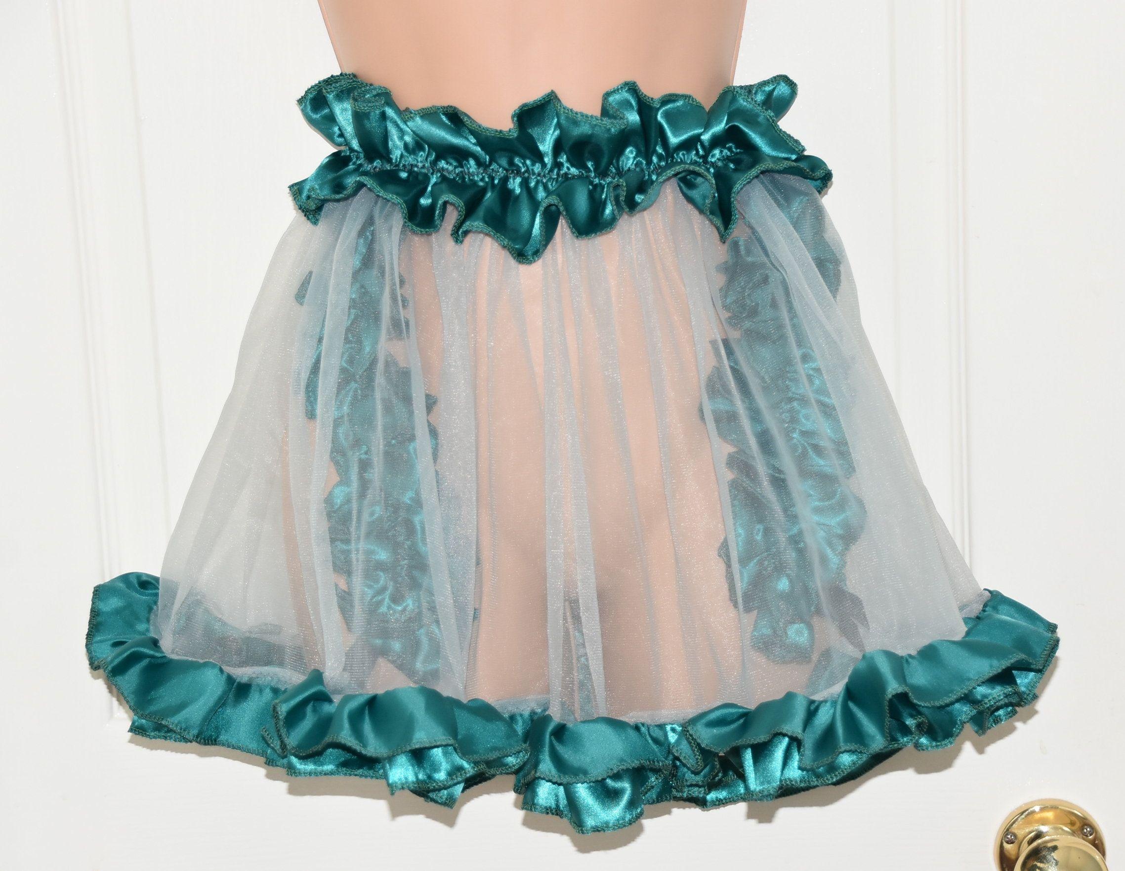 Sissy Lingerie JS Gorgeous Sissy Delight silky white satin nightdress babydoll sissy nightdress