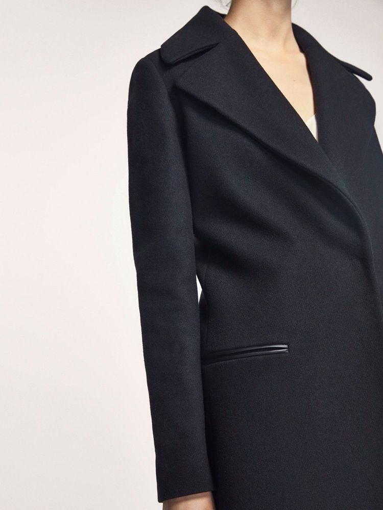 edf85a456e911 New Massimo Dutti Zara Group Black Leather Detail Wool Coat Size 4 ...
