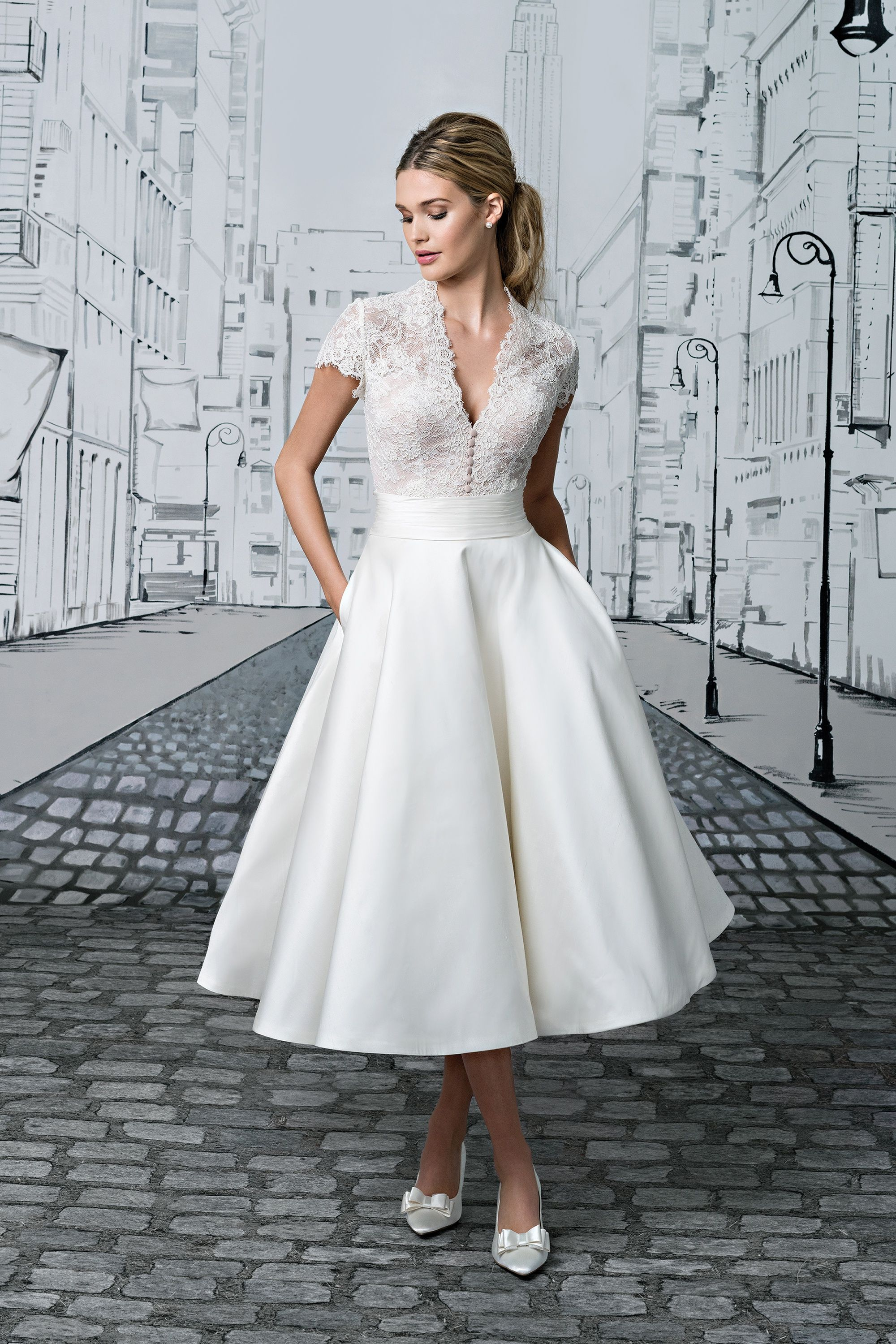 Lace Bodice with Short Sleeves and Silk Tea Length Ball Gown Skirt ...