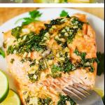 Cilantro-Lime Honey Garlic Salmon baked in foil