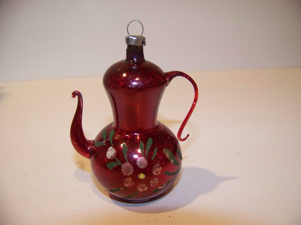 Antique German Blown Glass Mica Flower Vtg Christmas Tree Red Teapot Ornament Teapot Ornament Glass Christmas Ornaments Antique Christmas Ornaments