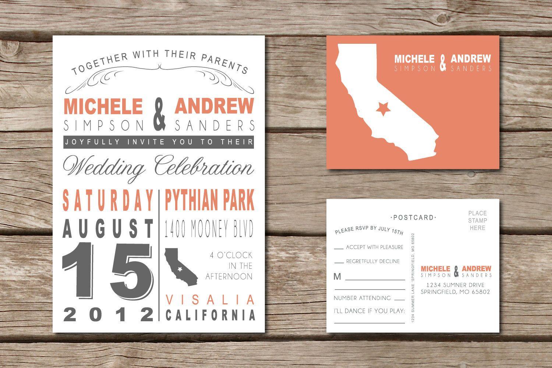 Vintage rustic state wedding invitation u rsvp post card diy