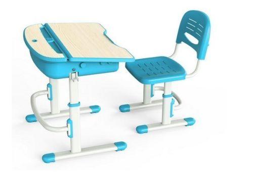Ergonomic-Kids-Desk-Blue-Adjustable-Chair-Child-Computer-Kid-Work