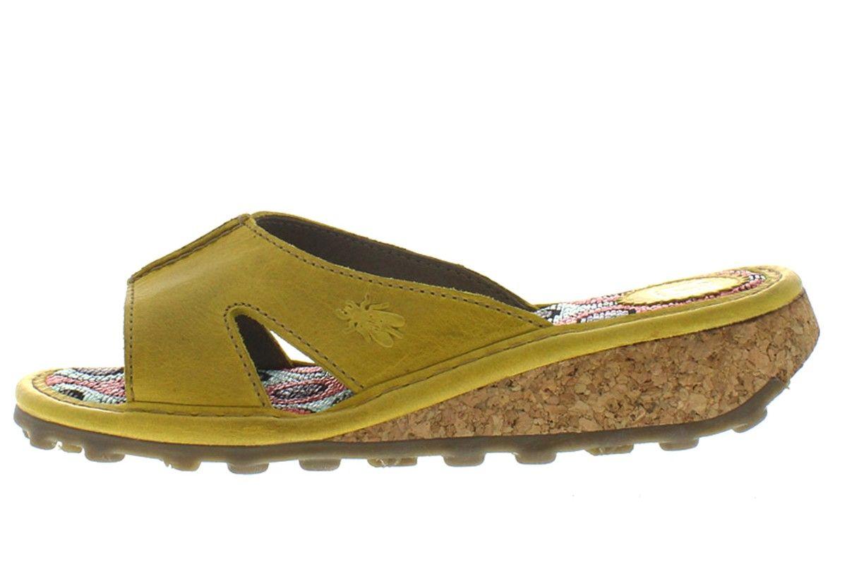 620851cdd4095f Fly London Kert Mustard Yellow Leather Slip On Women s Mule Sandals ...