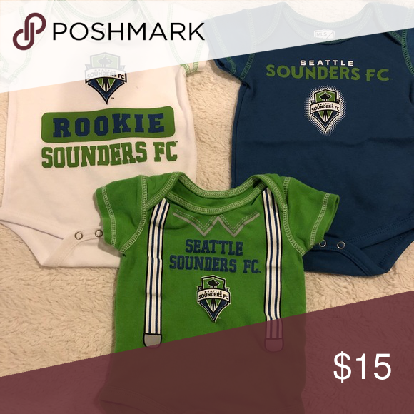2e72bb184 Seahawks   Seattle Sounders 0-3month team onesies MLS Sounders team onesies.  ✅no stains 🚭Smoke free home 🌟Like new 🙌🏻Worn one time OPEN TO OFFERS ...