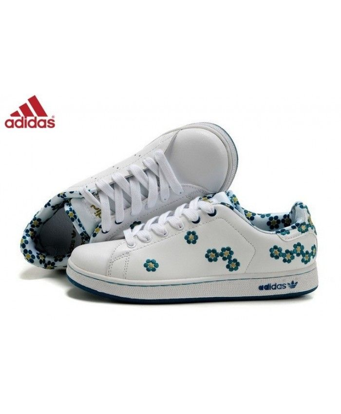 tout neuf 68e8f 16106 Adidas Stan Smith Blanche Fleur Bleue Chaussures Put on very ...
