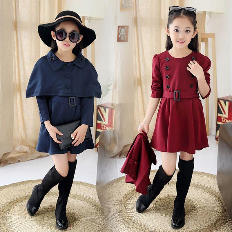 Cheap Niñas juegos de ropa de invierno 2015 moda otoño adolescentes de manga  larga vestido de