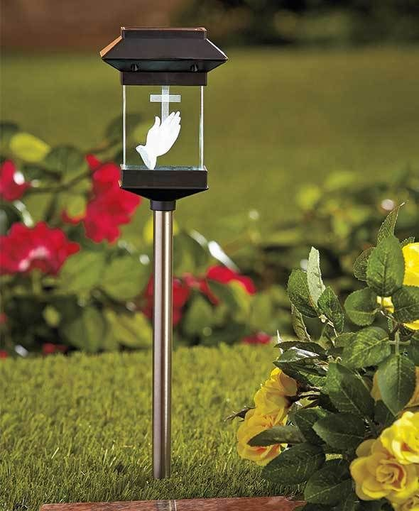 Solar Lighted Crystal Memorial Grave Marker Stake Cemetery Cross