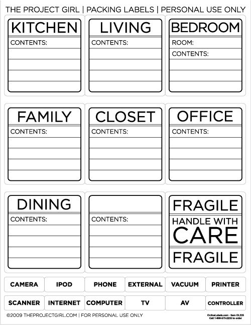 Jen Allyson The Project Girl - Packing Labels to make your move - packing label template