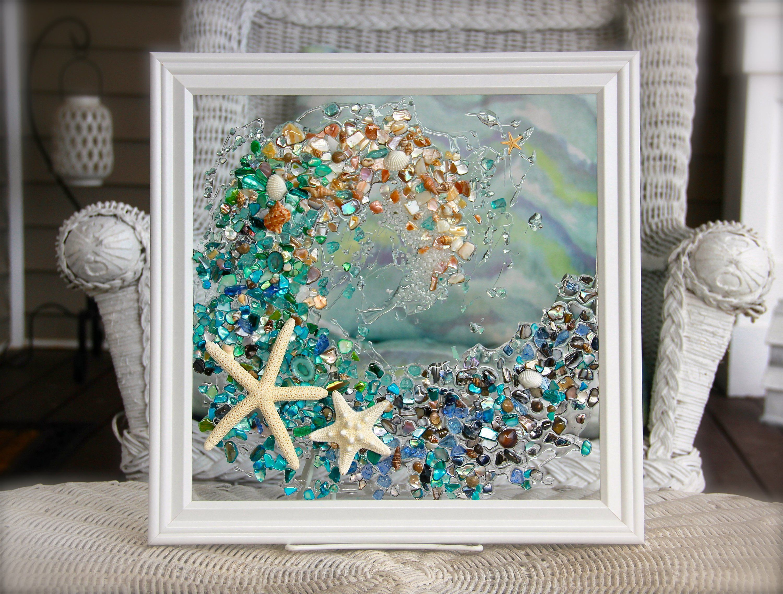 Beach Glass Art For Beach Decor Wave Art Made From Seashells Beach Wall Art For Bathroom Decor Wave Art For Beach Bathroom Gift For Her Seashell Wall Art Beach Glass Art