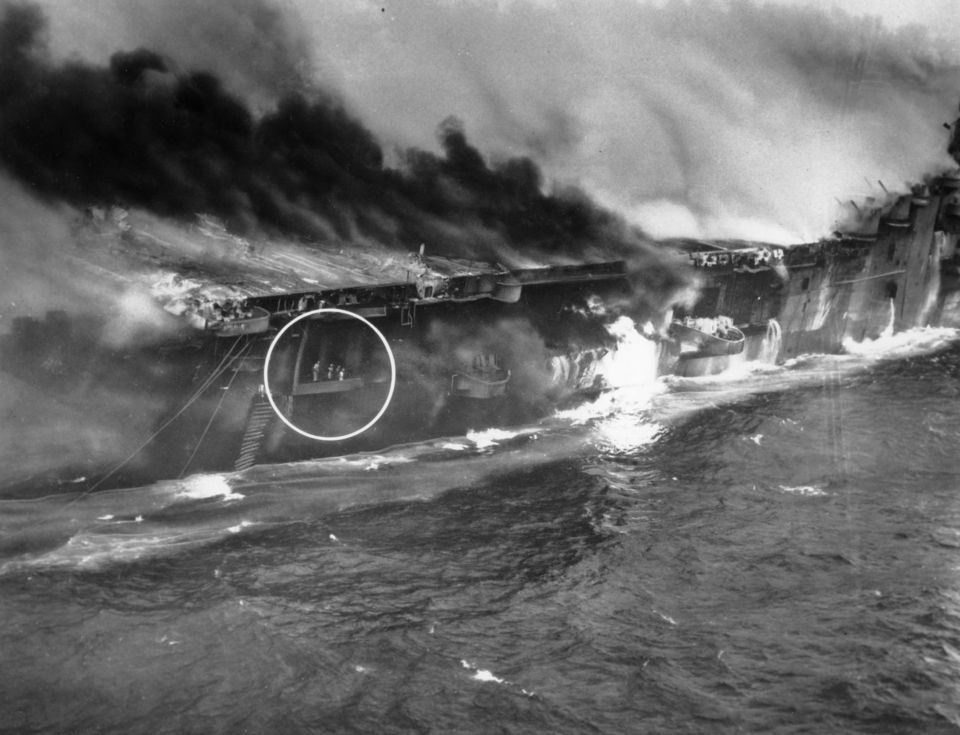 The bombing of the USS Franklin, the most heavily damaged ...