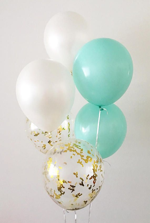 Mint White Gold Confetti Latex Balloons White
