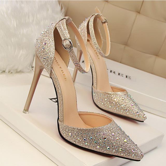 Women Pumps Sexy High Heels Shoes Woman Silver Rhinestone Wedding Shoe – US  MART NEW YORK 4e3a60c6bd41