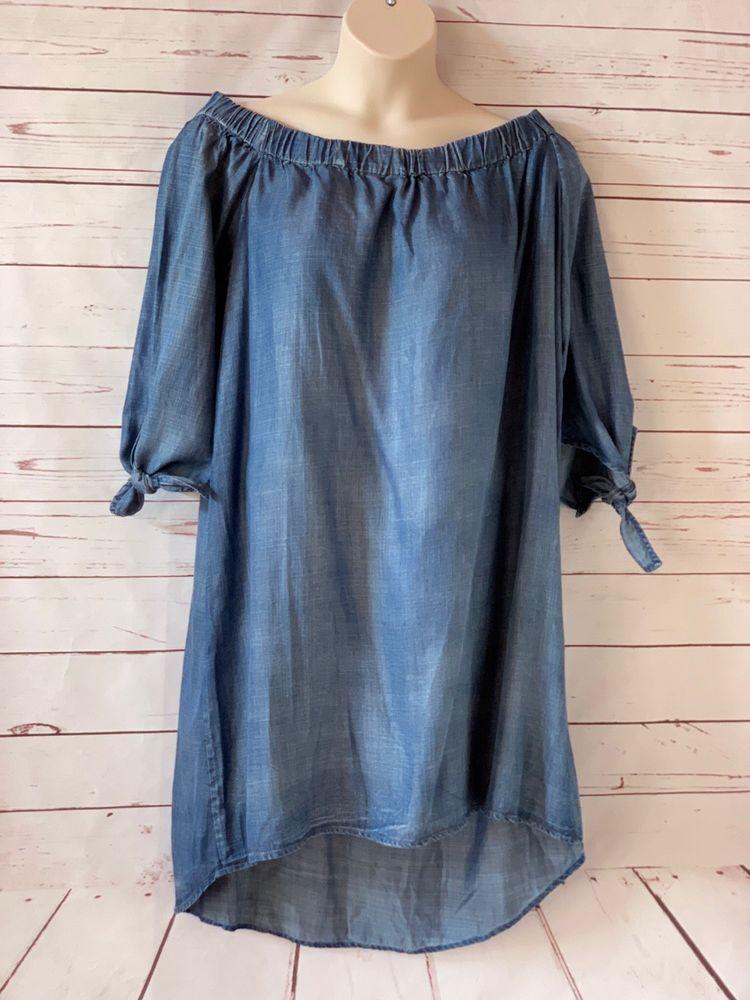 3c71346a17f NWT  88 STANDARDS   PRACTICES Plus Size 1X Julie Off Shoulder Dress Denim  Blue  StandardsPractices  ShiftDress