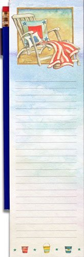 """Seaside Beach Chair Magnetic Pencil Pad by Wellspring Coastal. $3.95. Lined pad measures 2.75 x 9.5 x 0.3 inches.. Strong magnet mounted back of pad secures to refrigerators, filing cabinets or other flat metal surfaces.. Stylish, coastal motif, lined note pad with navy blue colored pencil.. Perfect for grocery, long message or things-to-do lists.. Makes a great """"patriotic beach"""" stocking stuffer, father's day, birthday or thank you gift.. Gone are the days of ta..."""