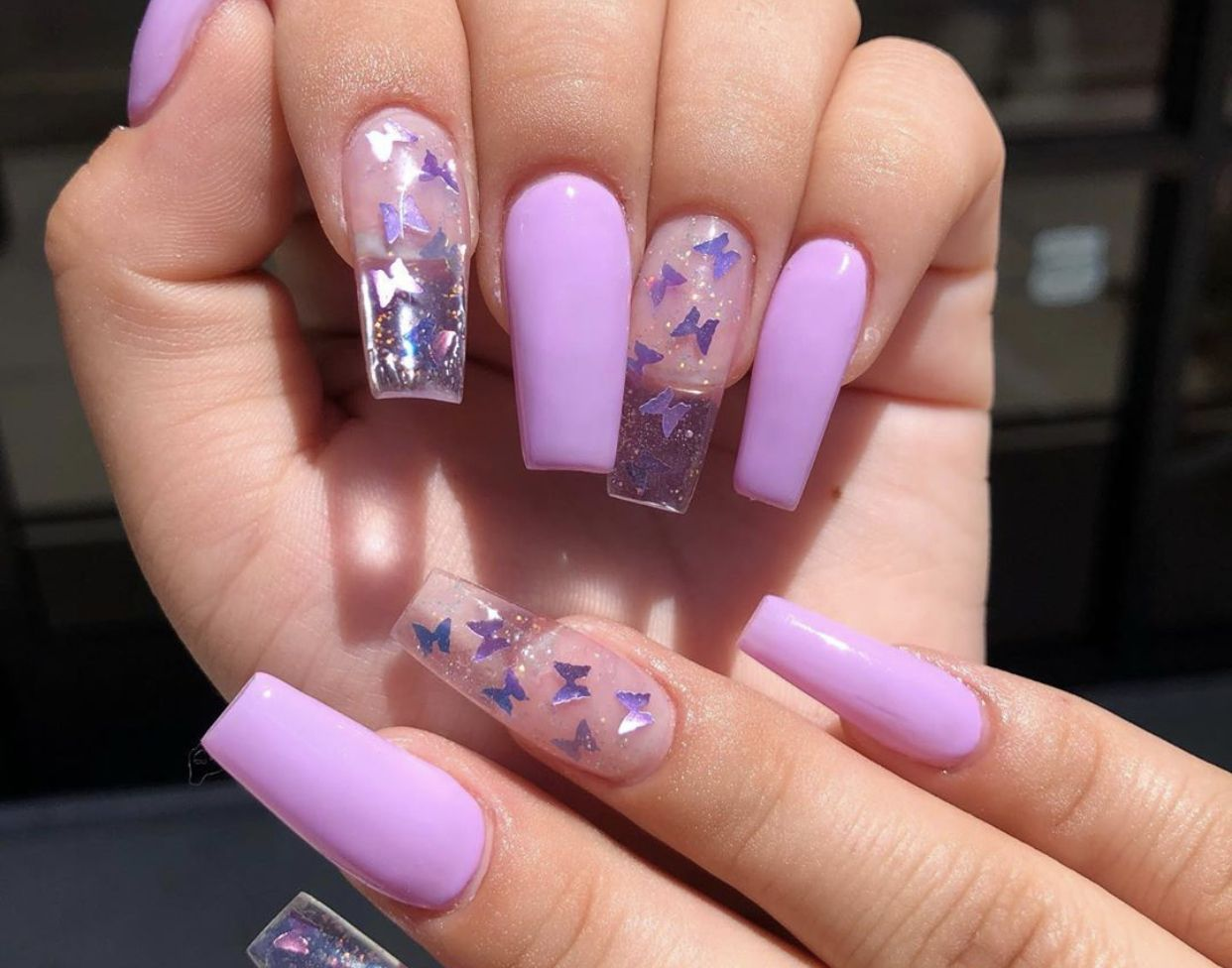 Pin By Jackie On Nails Toes Purple Acrylic Nails Summer Acrylic Nails Clear Acrylic Nails