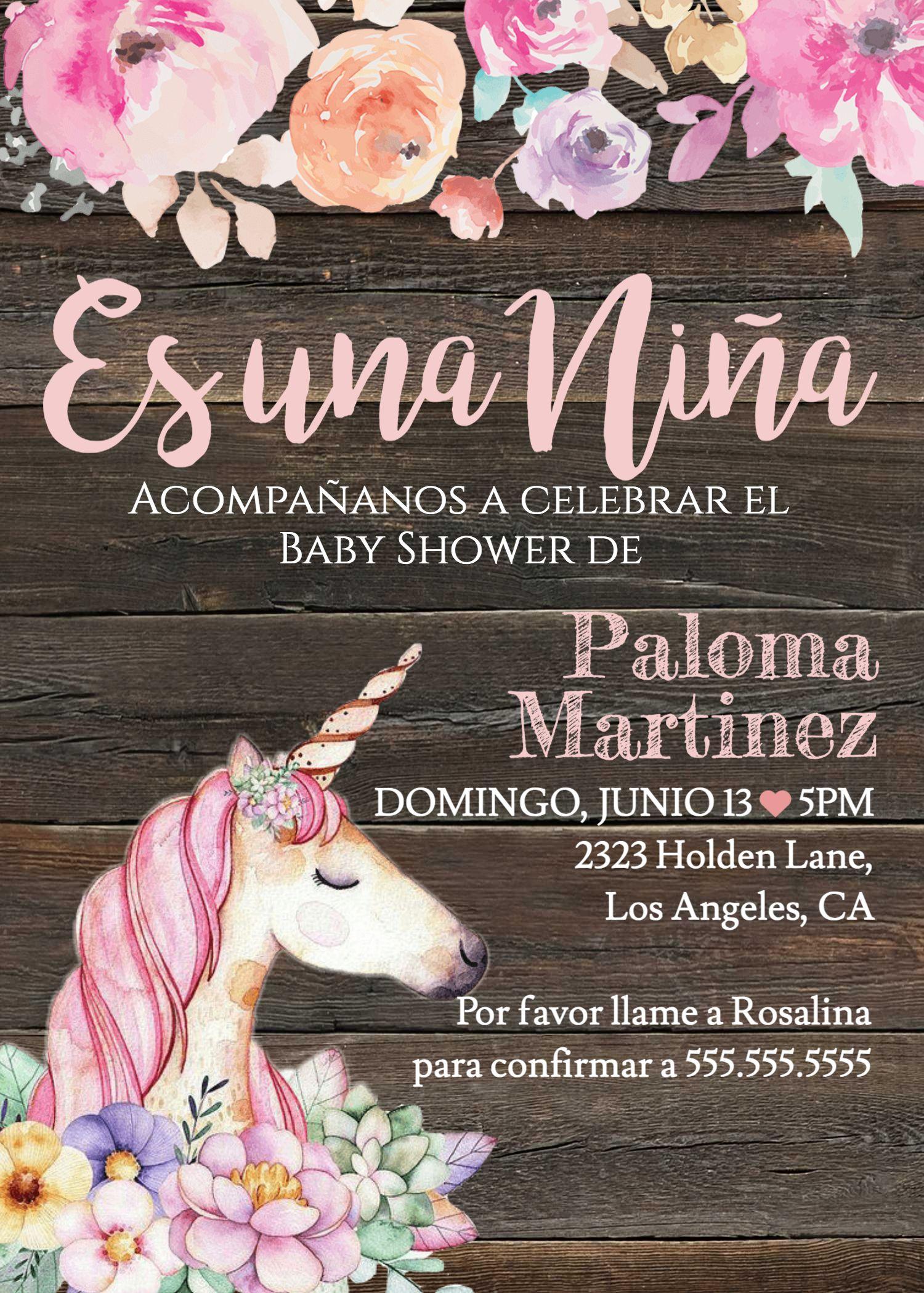 Es Una Nina Invitacion Baby Shower Invitation Template Fiesta De