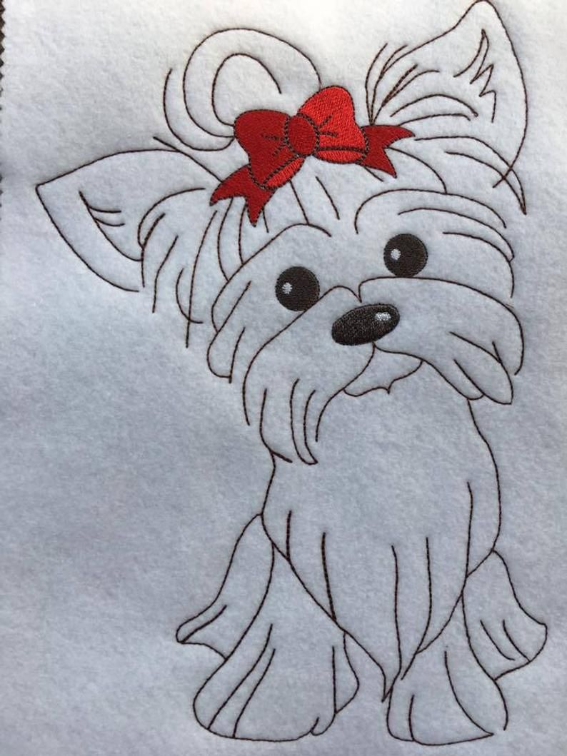 Girl Yorkie Dog Sketch Redwork Style 4 Sizes Included Digital Embroidery Design Dog Sketch Dog Sketch Easy Easy Drawings [ 1059 x 794 Pixel ]
