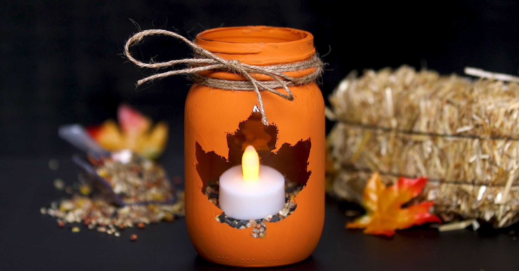 DIY This EasyToMake Autumn Leaf Mason Jar Candle Holder