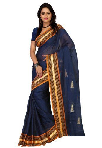 bee894a462 Fabdeal Indian Designer Cotton Blue Plain Saree Fabdeal, http://www.amazon