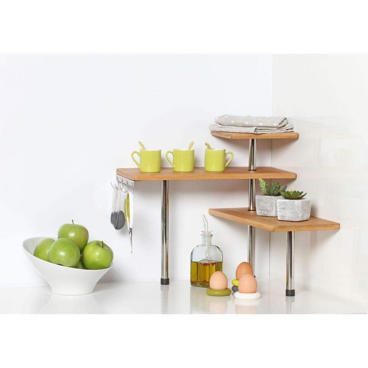 Taille D Une Cuisine etagère d'angle de cuisine en bambou - taille : taille