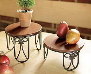 Longaberger Wrought Iron Plate Stands Same Diameter But Different