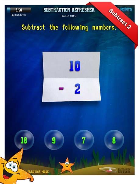 First Grade Math Apps Subtraction refresher Subtract 3