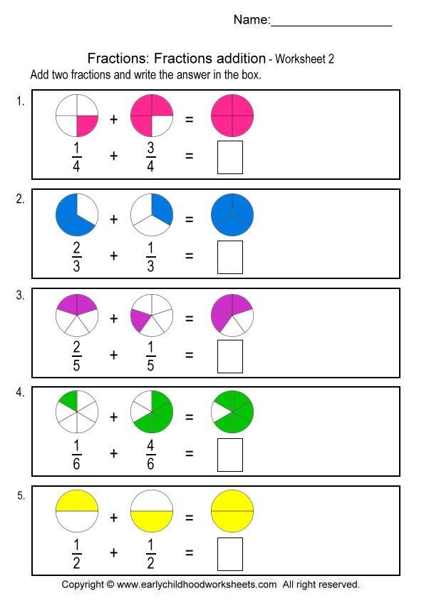 Fractions Addition Worksheet 2 fractions – Worksheets on Adding Fractions