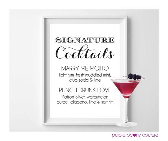 Signature Drink Sign Wedding Cocktail Bar This is cute if you - drinks menu template