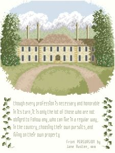 Original Cross-Stitch Designs by Thomas Beutel From Persuasion A country manor house with a quotation from Jane Austen's Persuasion extols the superiority of living by independent means. The house was inspired by the Kingwood Center gardens estate in Mansfield, Ohio, USA. Size: 120 x 160 stitches $6.99 Special $5.59 (20% off)