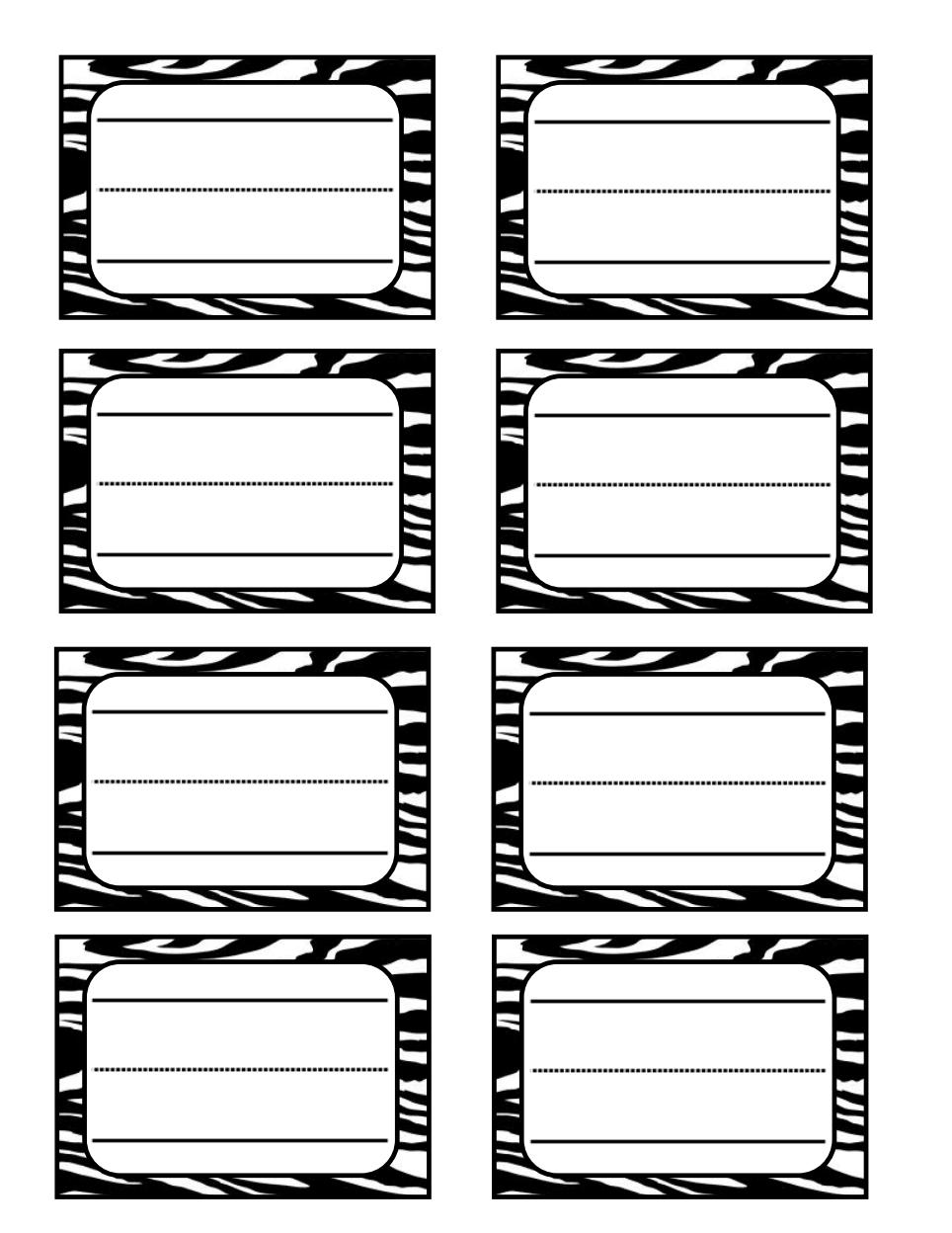 Zebra Print Name Tag Pdf