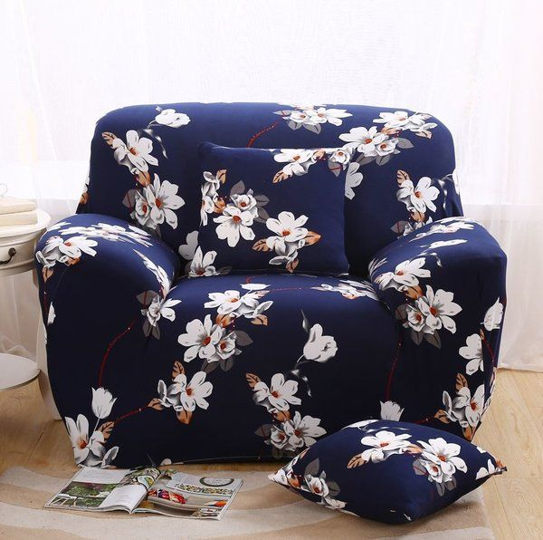 Sofa Pillows Navy Blue Sofa Covers for Home Sweet Home Printed Magnolia Flowers seater seaters