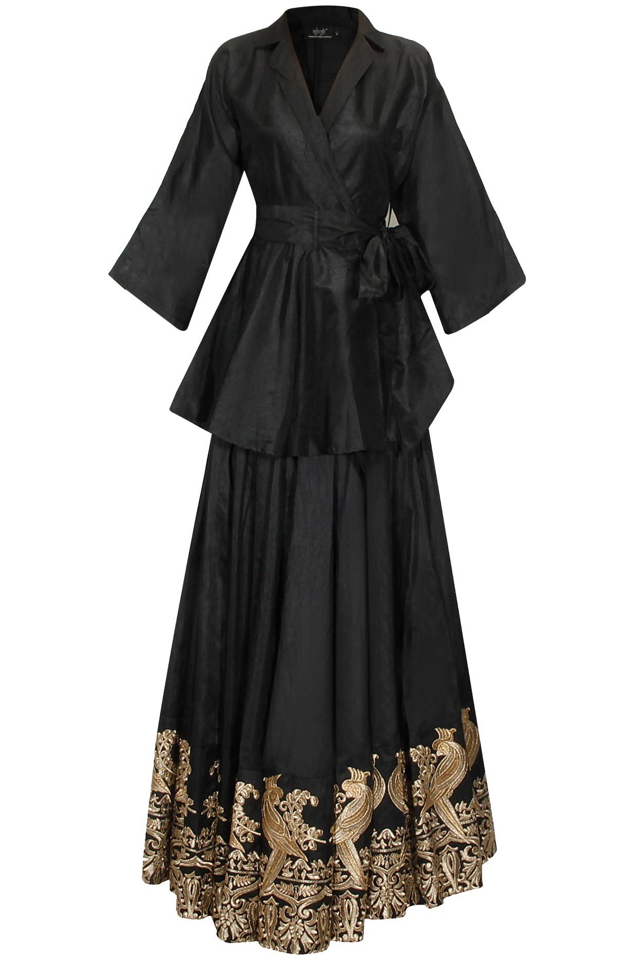 Black mithu embroidered lehenga set with trench coat available only