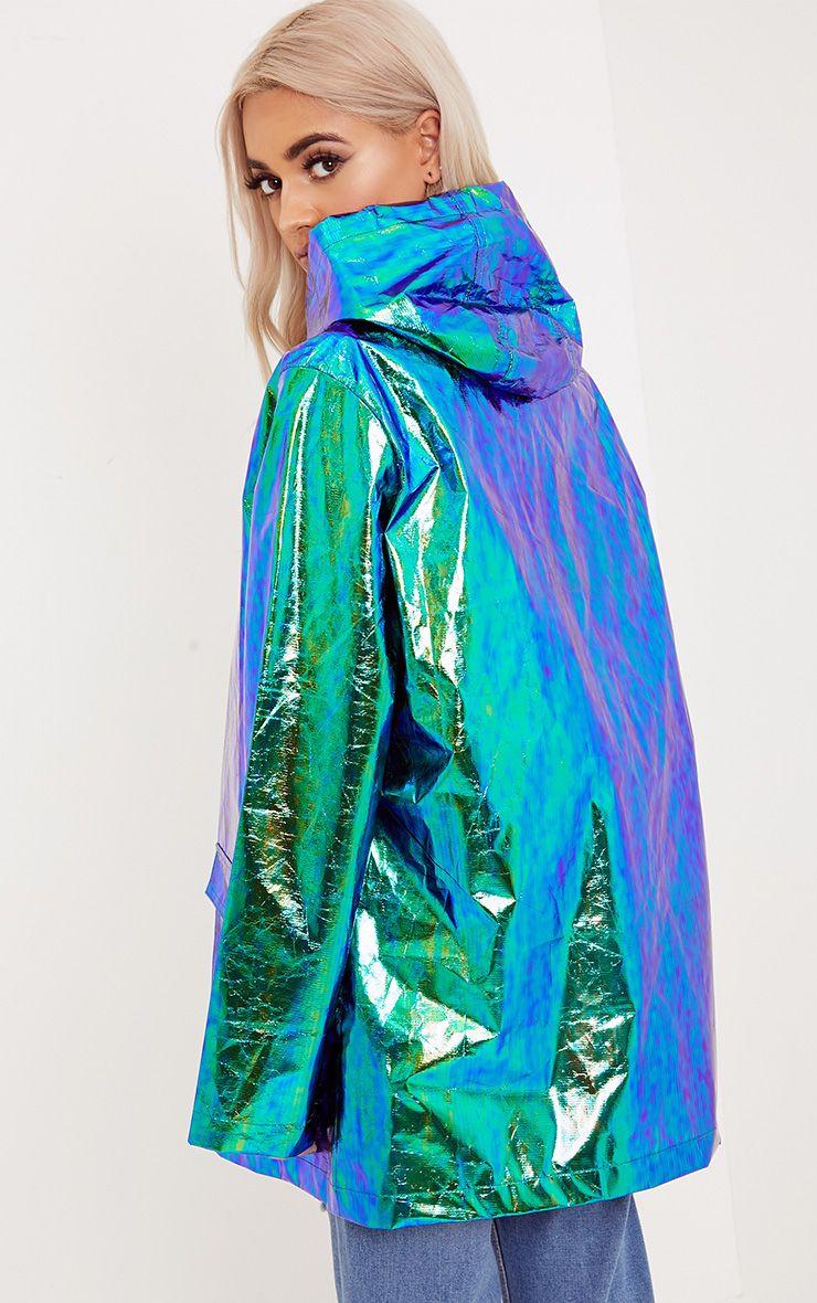 5b58a237e Cobie Green Holographic Rain Mac in 2019 | #notagoodlook | Rain mac ...