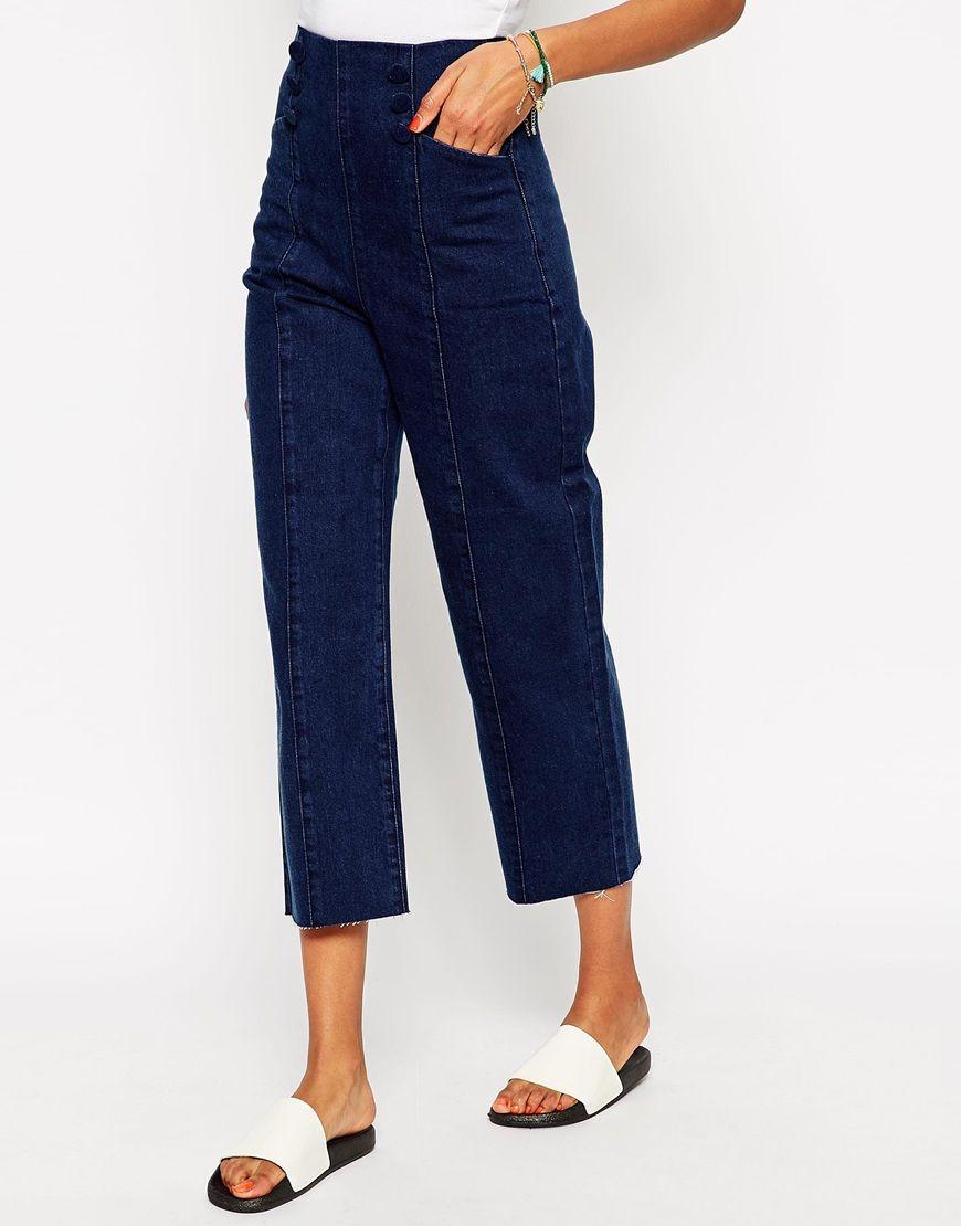 £24 ASOS High Waist Wide Leg Jeans In Indigo ith Matelot Detail