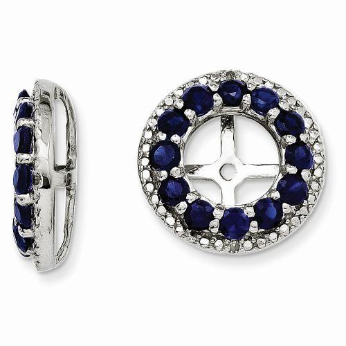 Zales Lab-Created Blue Sapphire and Diamond Accent Frame Stud Earring Jackets in Sterling Silver Rrh1xIp1