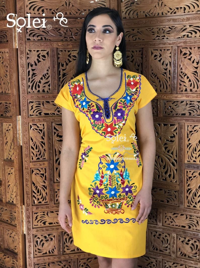 Mexican Kimono Dress Floral Embroidered Dress Mexican Etsy Mexican Dresses Embroidered Dress Traditional Mexican Dress [ 1060 x 794 Pixel ]