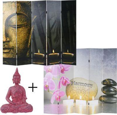 heute-wohnen Set Foto-Paravent+Deko Figur, Raumteiler 180x200cm - wohnzimmer deko figuren