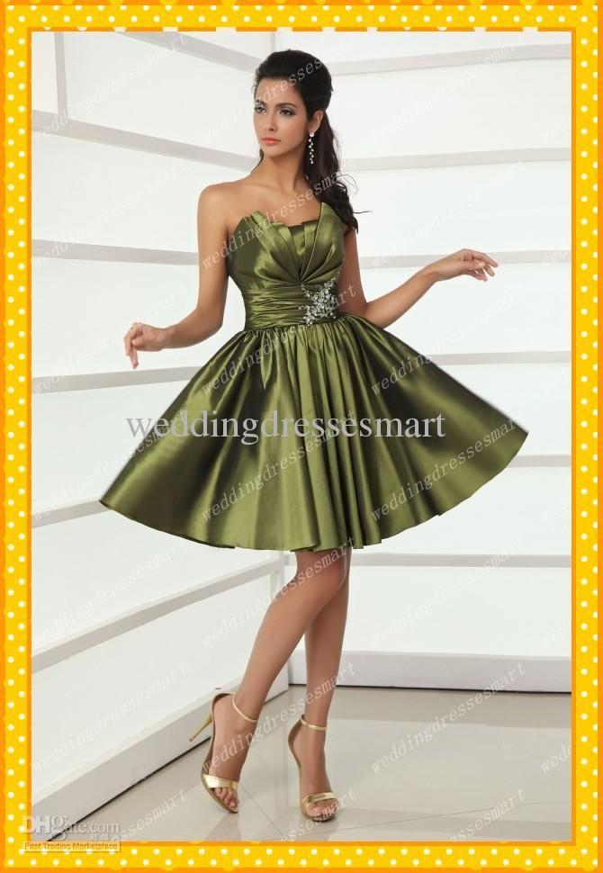 2014 Taffeta Corset Short Army Olive Green Homecoming Dresses