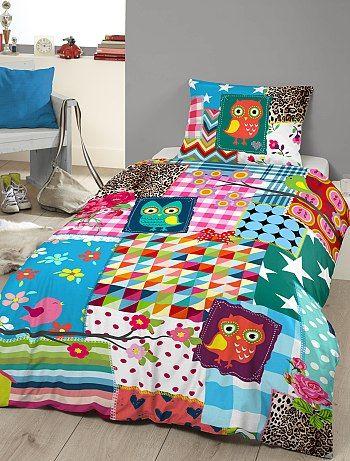 Parure de lit imprim e patchwork linge de lit 27 00 fille - Housse de couette patchwork ...