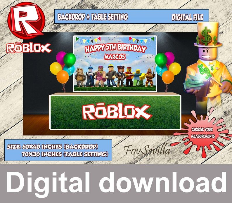 Backdrop Roblox Download Roblox Party Poster Roblox Digital File Roblox Banner Roblox Table Top Roblox Cover Table Roblox Supplies In 2020 Party Poster Backdrops Birthday Table