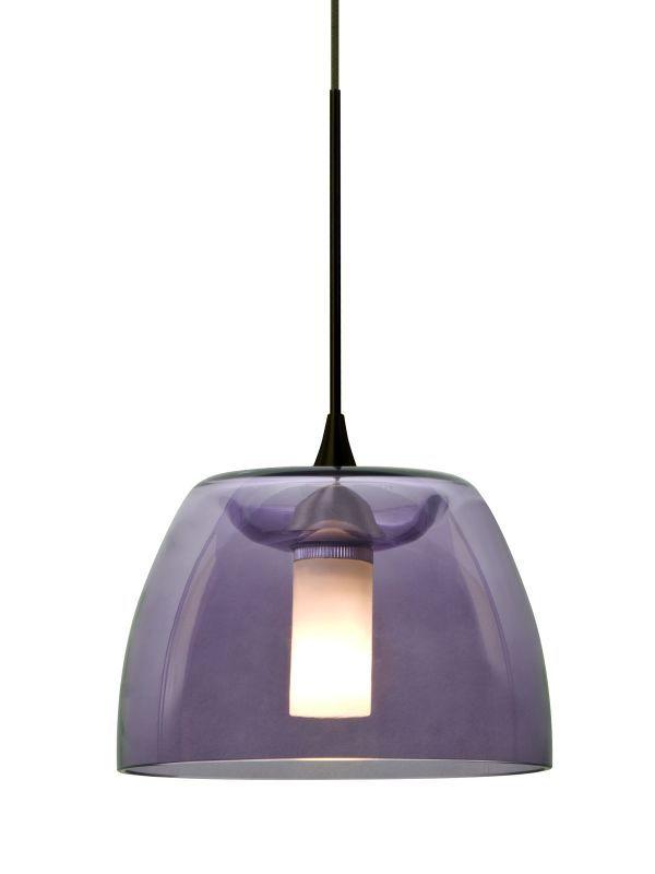 Besa Lighting 1xt Spurpl Led Spur Single Light Mini Pendant With Purple Glas Bronze Indoor Pendants