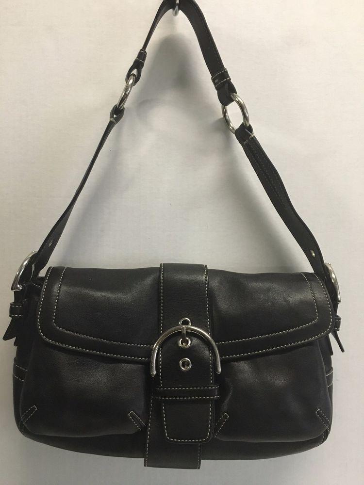 Coach Black Leather F05s 3653 Shoulder Bag Handbag Ebay