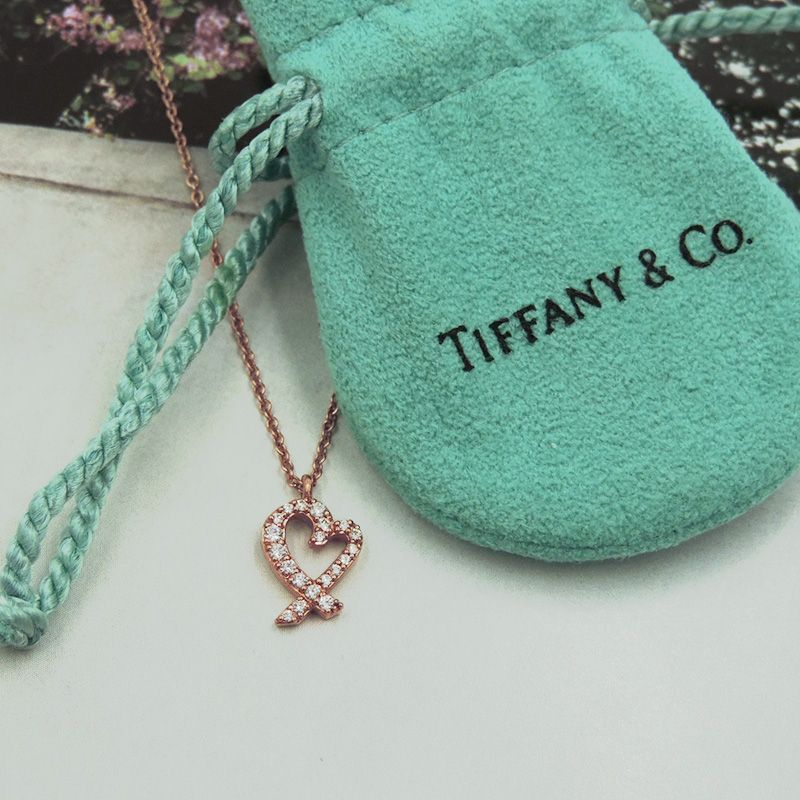 Tiffany co rose gold tiny diamond heart pendant cute ribbon tiffany co rose gold tiny diamond heart pendant cute ribbon cross over style aloadofball Image collections