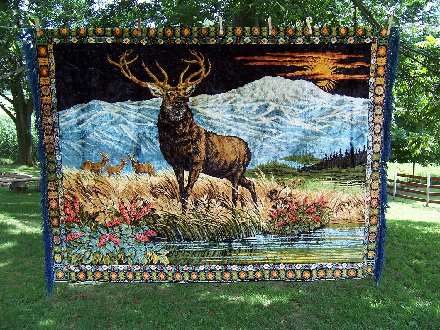 Large Vintage Velvet Tapestry Rug Wall Hanging Of A Stag
