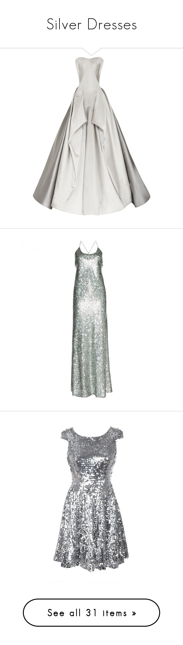 """Silver Dresses"" by disneydressing ❤ liked on Polyvore featuring dresses, gowns, long dresses, ball gowns, dove grey, strapless sweetheart dress, pleated dress, full skirt, zac posen gowns and pleated gown"