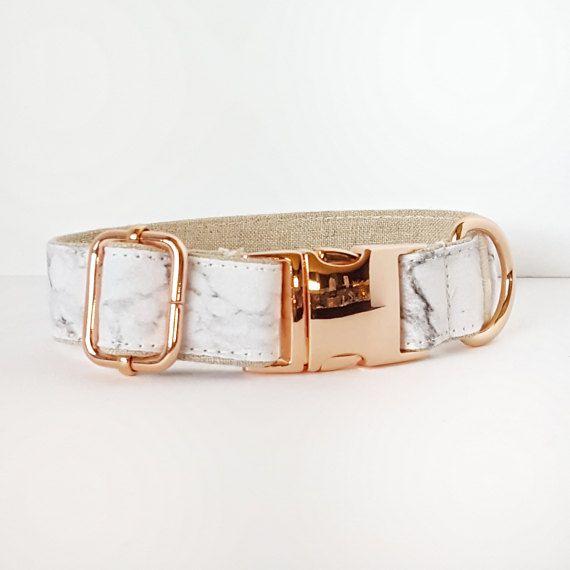 Carrara Marble Dog Collar Rose Gold Hardware 1 Width Luxury Dog
