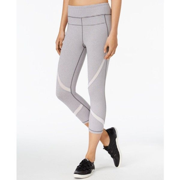 896e4933c4daa Calvin Klein Performance Striped Capri Leggings ($20) ❤ liked on Polyvore  featuring pants,