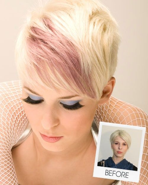 Pin By Carrie Jo On Hair Makeup Short Hair Styles Blonde Hair With Pink Highlights Short Blonde Hair
